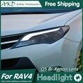AKD Car Styling para 2014-2015 Novo RAV4 RAV4 LEVOU Faróis LED Bi Xenon Lente High Low Feixe do farol DRL Estacionamento luz de Nevoeiro