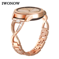 Rhinestone Diamond + Stainless Steel Watchband 20mm for Samsung Galaxy Watch 42mm Gear S2 Classic Jewelry Band Rose Gold Strap