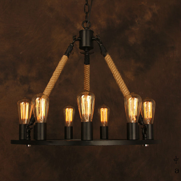 Industrial American Style Vintage Chandelier Edison Lamp Iron Base Loft Coffee Bar Restaurant Kitchen Pendant Lamp loft vintage edison pendant lamp industrial american style pendant light iron cage coffee shop restaurant glass hanging lamp