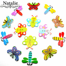 50pcs Animal Wooden Buttons Scrapbooking Clothing Decorative For Diy Crafts Sewing Accessories Butterfly Bee Dragonfly