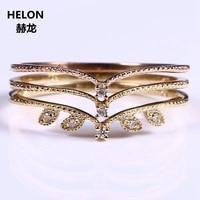 Vintage Solid 10k Yellow Gold Rose Gold Certified Natural Diamonds Ring Women Engagement Wedding Band Thin Elegant Ring