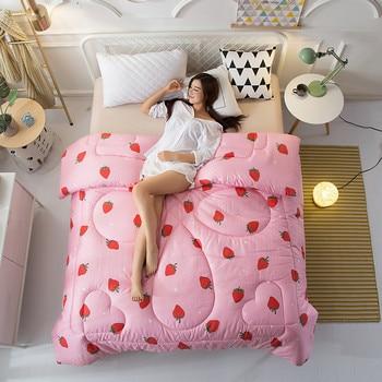 150*200 см зима кровать Стёганое одеяло с принтом клубники однотонные розовые бросить Одеяло для взрослых полиэстер мягкий дети покрывала и Ст...