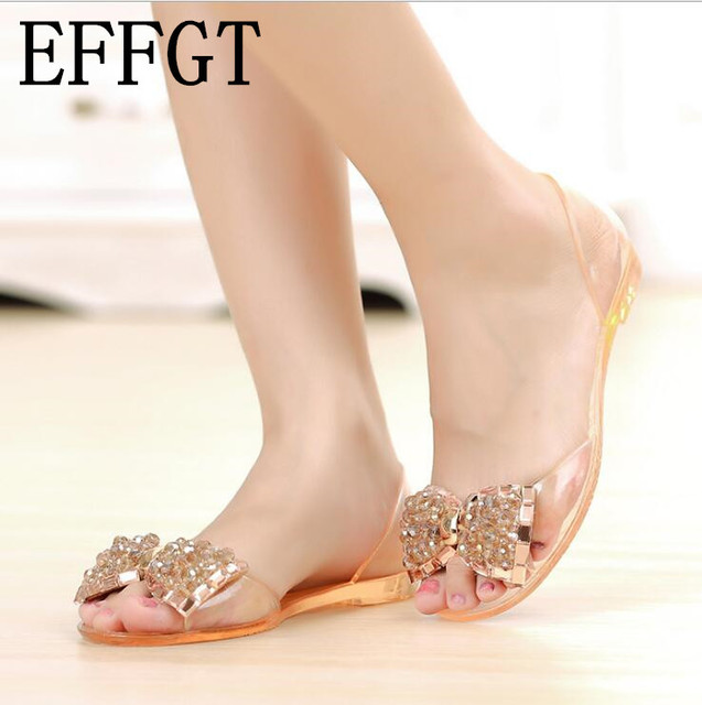 18b084a55e89 EFFGT Fashionable aquamarine bowknot jelly shoes fish mouth crystal sandals  hand beaded shiny beach shoes toe flat shoes B360