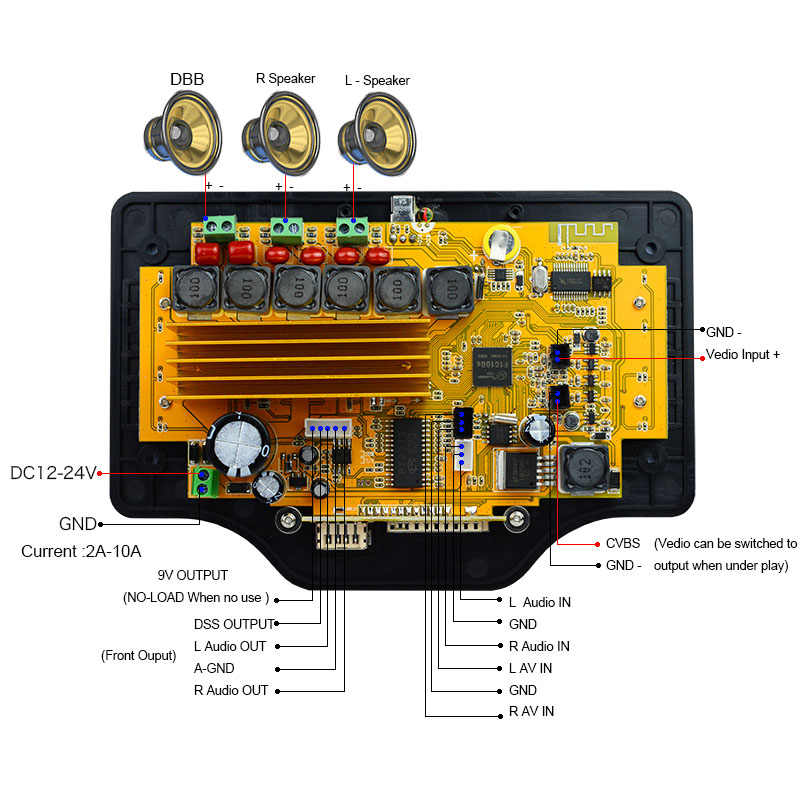 DC12V 200W SubWoofer Bass Amplifier Board LCD Lossless Audio Bluetooth  Receiver Decoder Board DTS FLAC APE AC3 WAV MP3 Car Vedio