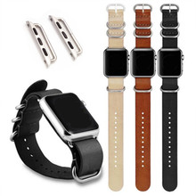 Cowhide Genuine Leather Military Watch Strap Band For Apple iWatch 38mm / 42mm And for Watches Adapter