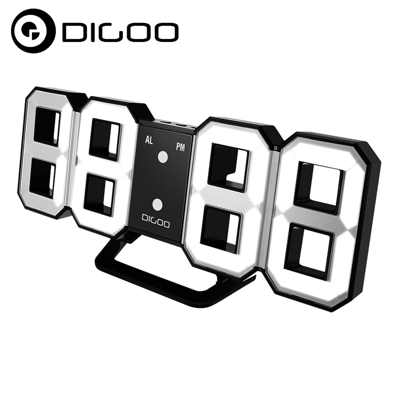 Digoo DC-K3 Smart Home Multi-Function Large 3D LED Digital Wall Clock Alarm Clock With Snooze Function 12/24 Hour Display 3d diy wall clock large table clock led digital automatic sensor light jumbo wall clock huge screen display white
