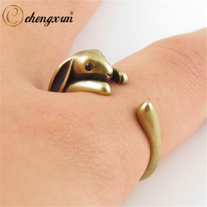 CHENGXUN кольцо с изящными деталями кролика редиса, любимого животного, модные античные латунные Открытые Кольца, украшения для детей