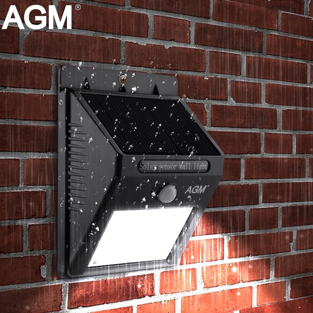AGM LED Solar Panel Power Light Wall Lamp Motion Sensor Luminaria Energy 16Leds Waterproof Sunlight For Garden Outdoor Stairs
