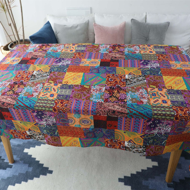 Retro Ethnic Style – Decorative Tablecloth – Cotton Linen