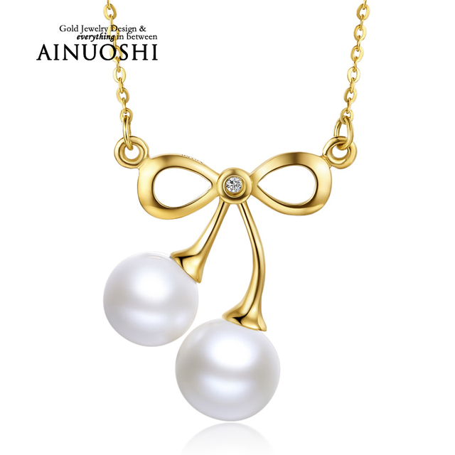 AINUOSHI 18K Yellow Gold Natural Cultured Freshwater Pearl Cherry Link Chain Pendant Necklace Girl Wedding Valentine's Day Lover