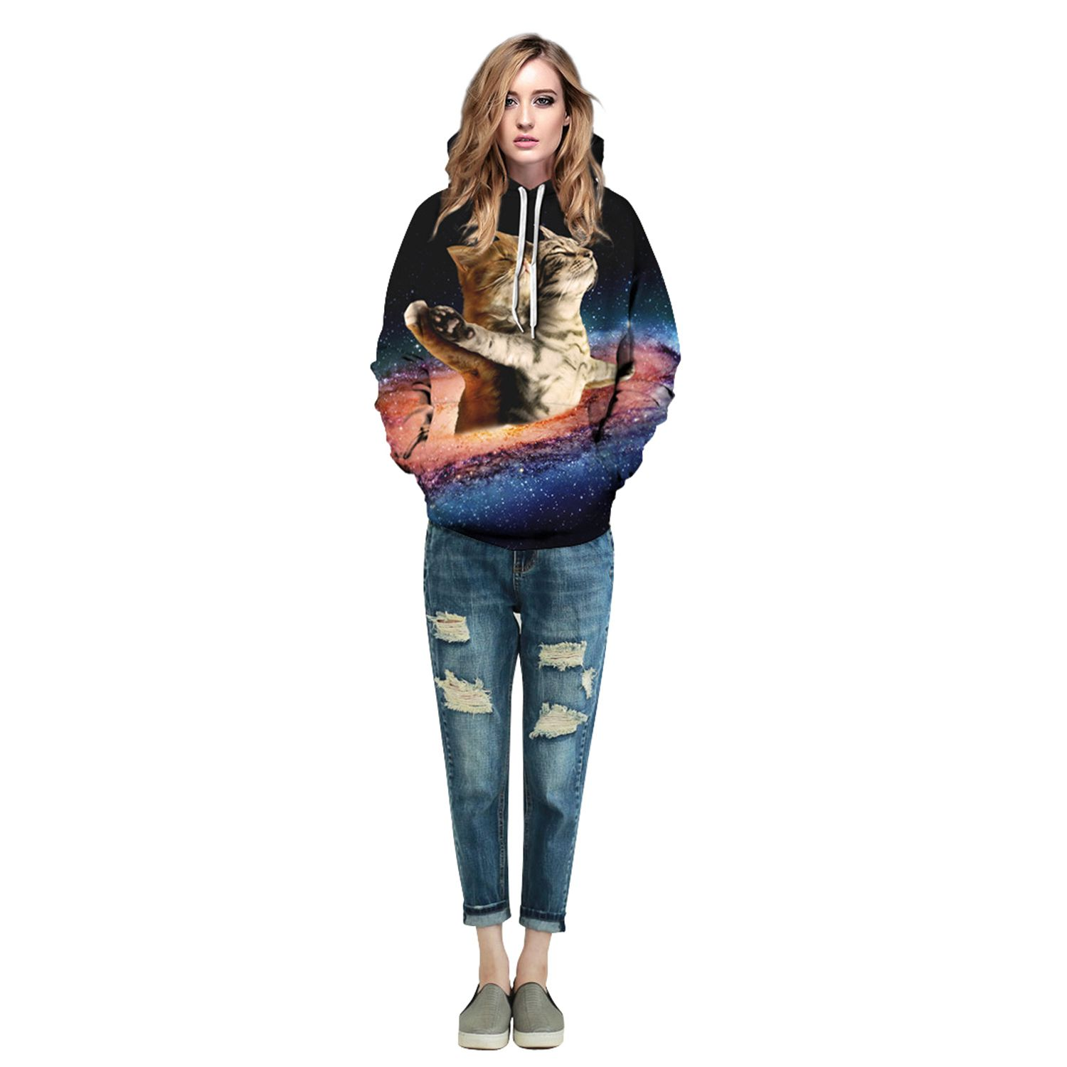 Men/Women New Fashion Universe Galaxy Space Clorful 3d Print Hoodies Sweatshirts Cats Funny Hooded Hoodie Casual Tops