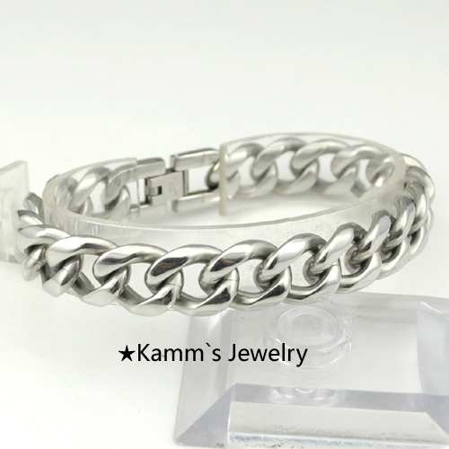 Silver Plated Stainless Steel Bracelet Mens Jewelry Chains PUNK ROCK Biker Wholesale&Free shipping cheap fashion bracelets KB054