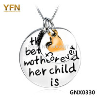 GNX0330 Forever Love Pendant Necklace For Women 2014 New 925 Sterling Silver Jewelry Mum Child Engraved