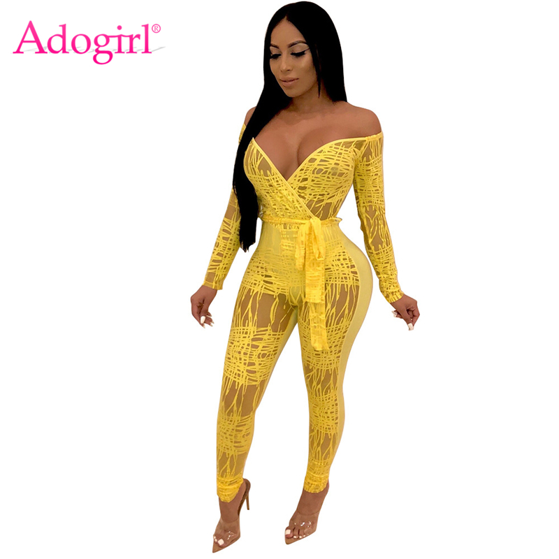 Adogirl Solid Lace Fake Sheer Mesh Women Sexy Jumpsuit Wrap V Neck Off Shoulder Long Sleeve Club Party Romper with Belt