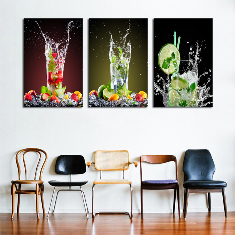 Unframed 3 Sets Canvas Painting Lemon Glass Drink Art