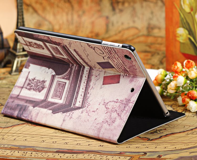 Retro Attractions Stand Cover Protection PU Leather Landmark Building Magnet Smart Sleep Case For Apple ipad Air 5 9.7 Tablet