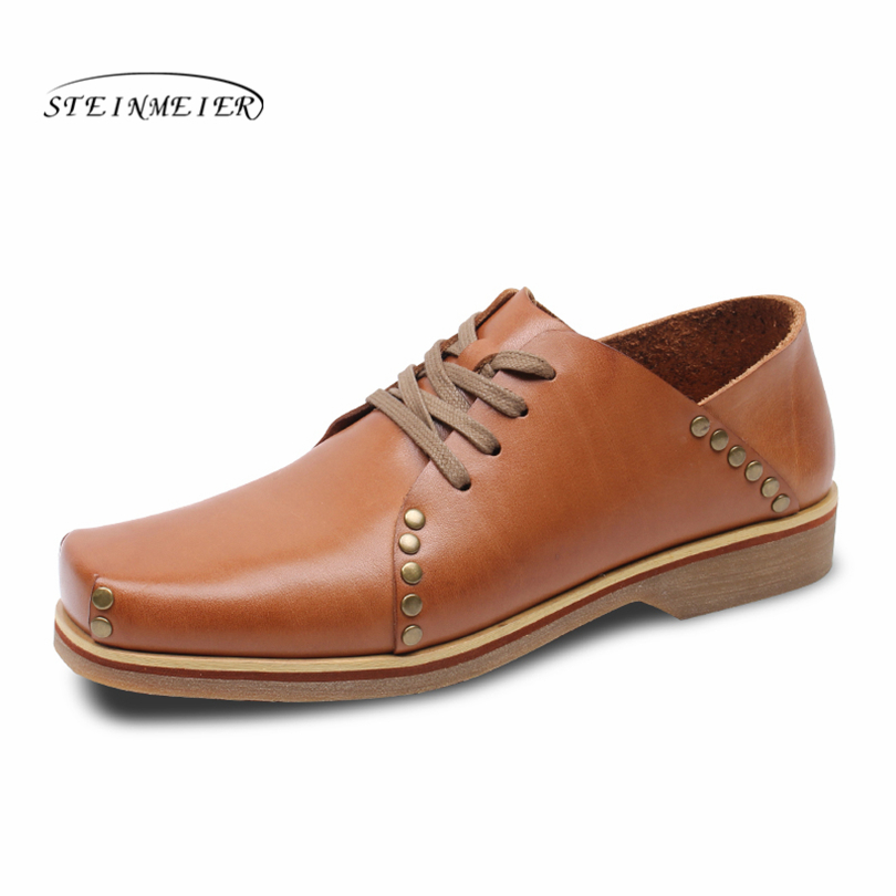 Здесь продается  Men full grain leather Oxford Shoes For Men rivet monks Shoes square toe England Style Handmade Shoes Men spring wedding shoes  Обувь