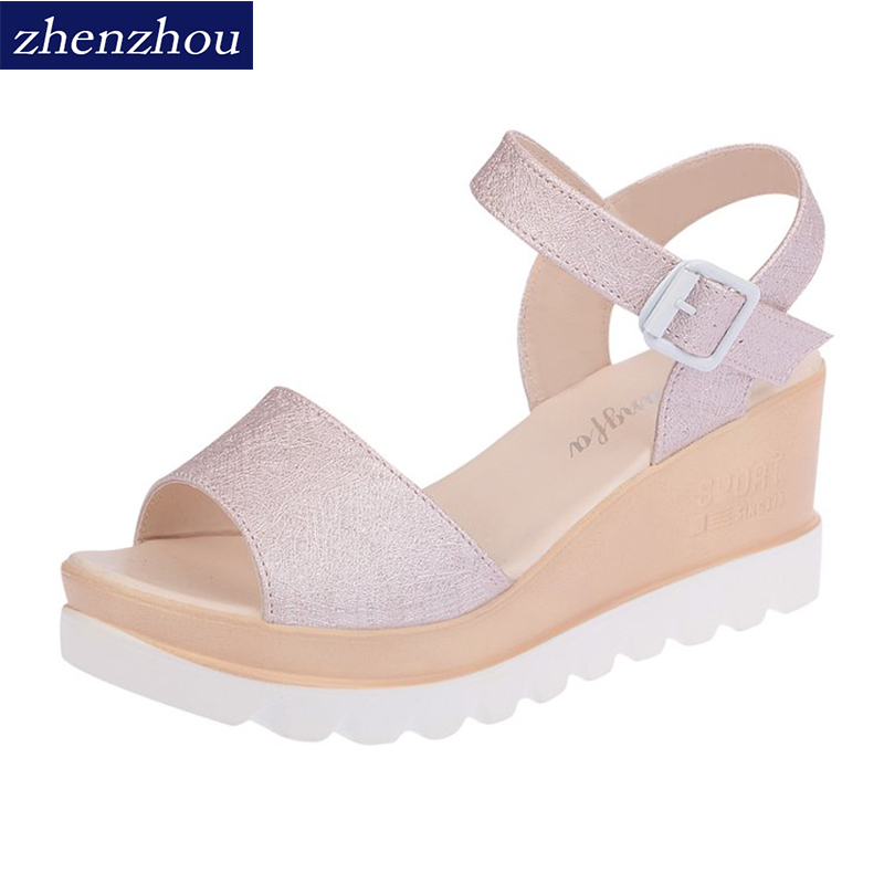 ZHENZHOU Womens shoes 2018 summer woman sandals muffin top waterproof platform students belt buckles with button sandals.
