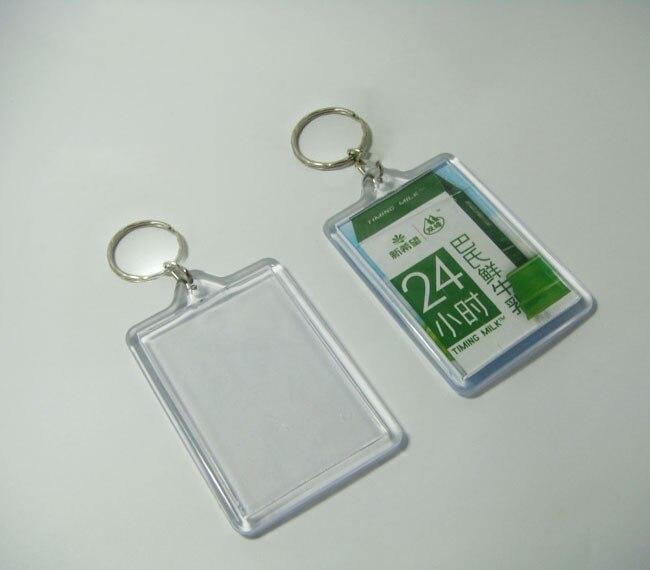 100pcs Blank Acrylic Rectangle Keychains Insert Photo Keyrings Key ring chain 2 25 x 1 65