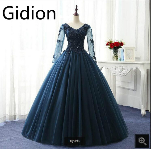 661e76954b5 Gorgeous 2017 modest ball gown navy blue with long sleeve prom dress  appliques real picture princess vintage prom gowns