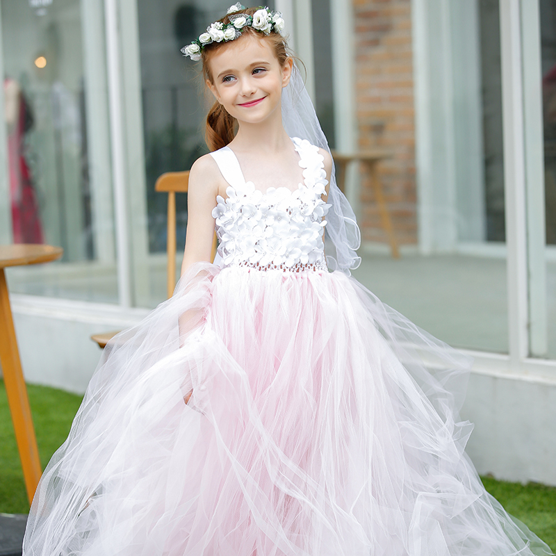 Customized White Flower Girl Bridesmaid Tulle Dress Baby Girls Pink Puffy Long Wedding Party Tutu Dresses Child Birthday Outfit new 2016 fshion flower girl dress kids clothing party wedding birthday girls dresses baby girl white pink rose dress