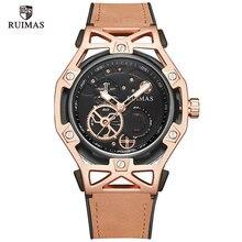 RUIMAS Mens Luxury Leather Army Sport Quartz Watches Top Brand Analogue Wristwatch for Man Relogios Masculinos Clock  534