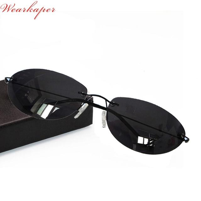 96a41cccf2 WEARKAPER Ultralight Matrix Morpheus Sunglasses Steampunk Movie Eyewear men  Rimless Classic Oval glasses Oculos Gafas De Sol