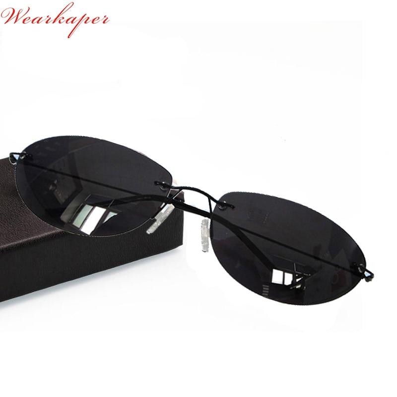 WEARKAPER Ultralight Matrix Morpheus Sunglasses Steampunk Movie Eyewear men Rimless Classic Oval glasses Oculos Gafas De Sol