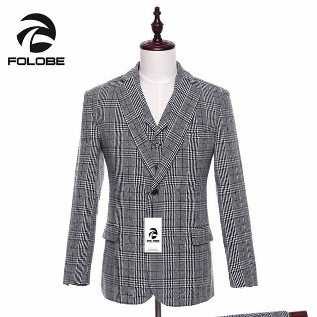 FOLOBE Lana Grigio Plaid Tweed Giacca Formale Uomo Moda Slim Fit Giacca  Maschile Cappotto Da Uomo e9e4f28f23c