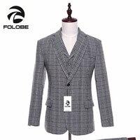 Folobe шерсть серые клетчатые твидовые деловой Блейзер Для мужчин мода Slim Fit Куртка Мужской пальто костюм Для мужчин костюмы для торжественных