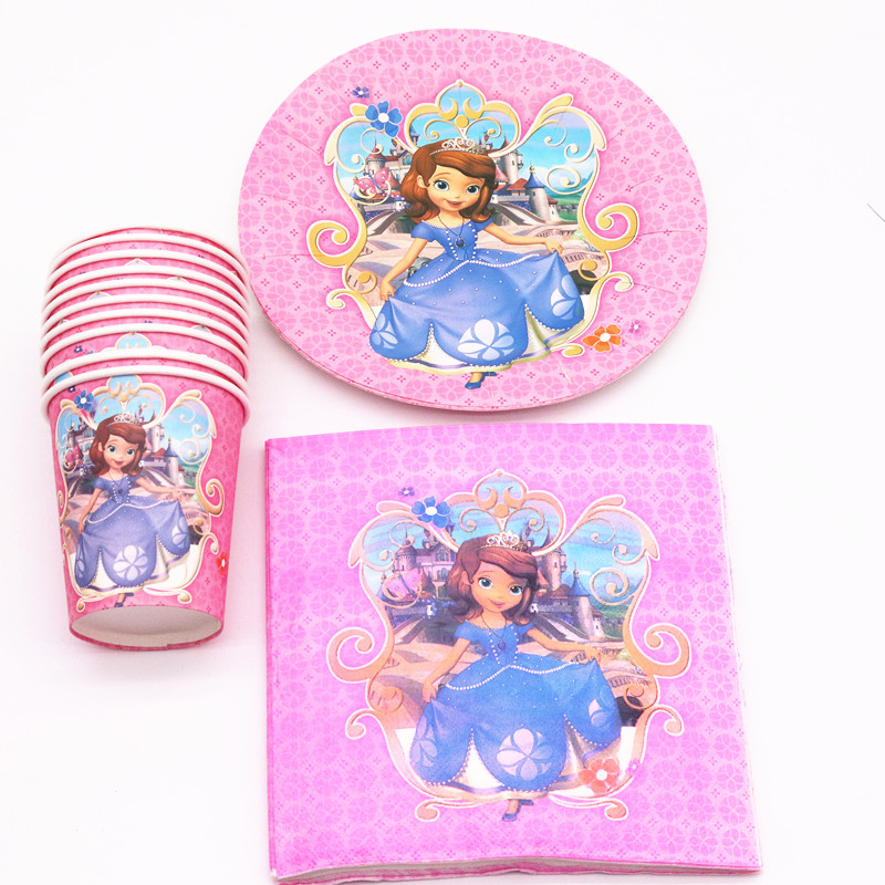 40Pcs Princess Sophia Cartoon  Party Decoration Plates Cups Napkins Cover  Baby Shower Birthday Decors Kids Party Supplies