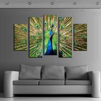 2015 Pop Canvas Painting Big Size 5 Pieces Oil Canvas Painting Green Peacock Modern Home Decoration Painting
