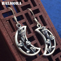 BALMORA 990 Pure Silver Moon Flower Drop Earrings For Women Mother Gift Brincos Vintage Earrings Thai