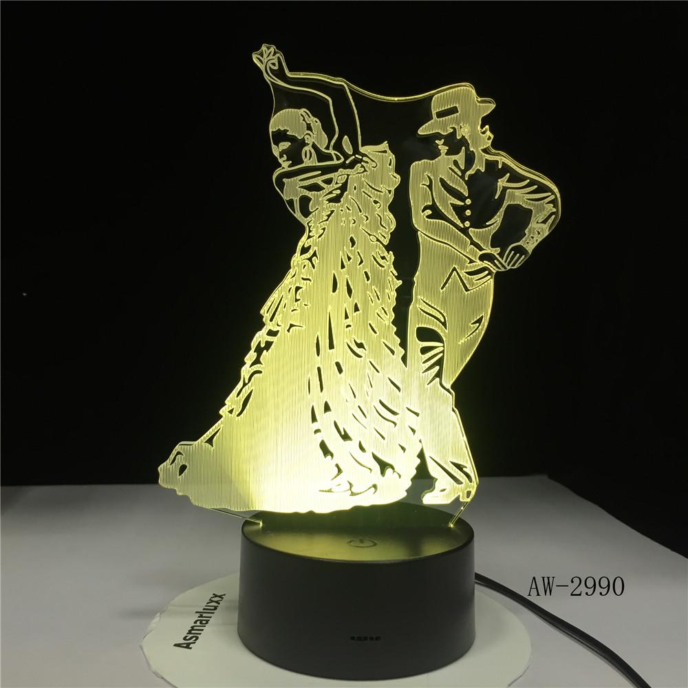Flamingo Dance Skirt Table Lamp 3D Led Bedroom Decor Night Lights Usb Baby Sleep Visual Girls Light Fixtures Kids Gifts AW-2990