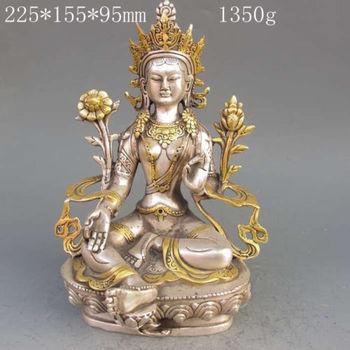 H 220mm Decorated Tibet Silver Copper Gilt Tibetan Buddhism Statue -- White Tara Buddha Decoration real Silver Brass