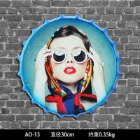 30cm Vintage Home Decor Beauty Girl Round Bottle Cap Tin Signs Art Wall Decor House Cafe Bar Vintage Metal Signs