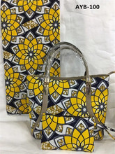 New fashion!!! Gorgeous design good quality ankara 100% cotton wax material 6 yards wax match nice handbag AYB-100