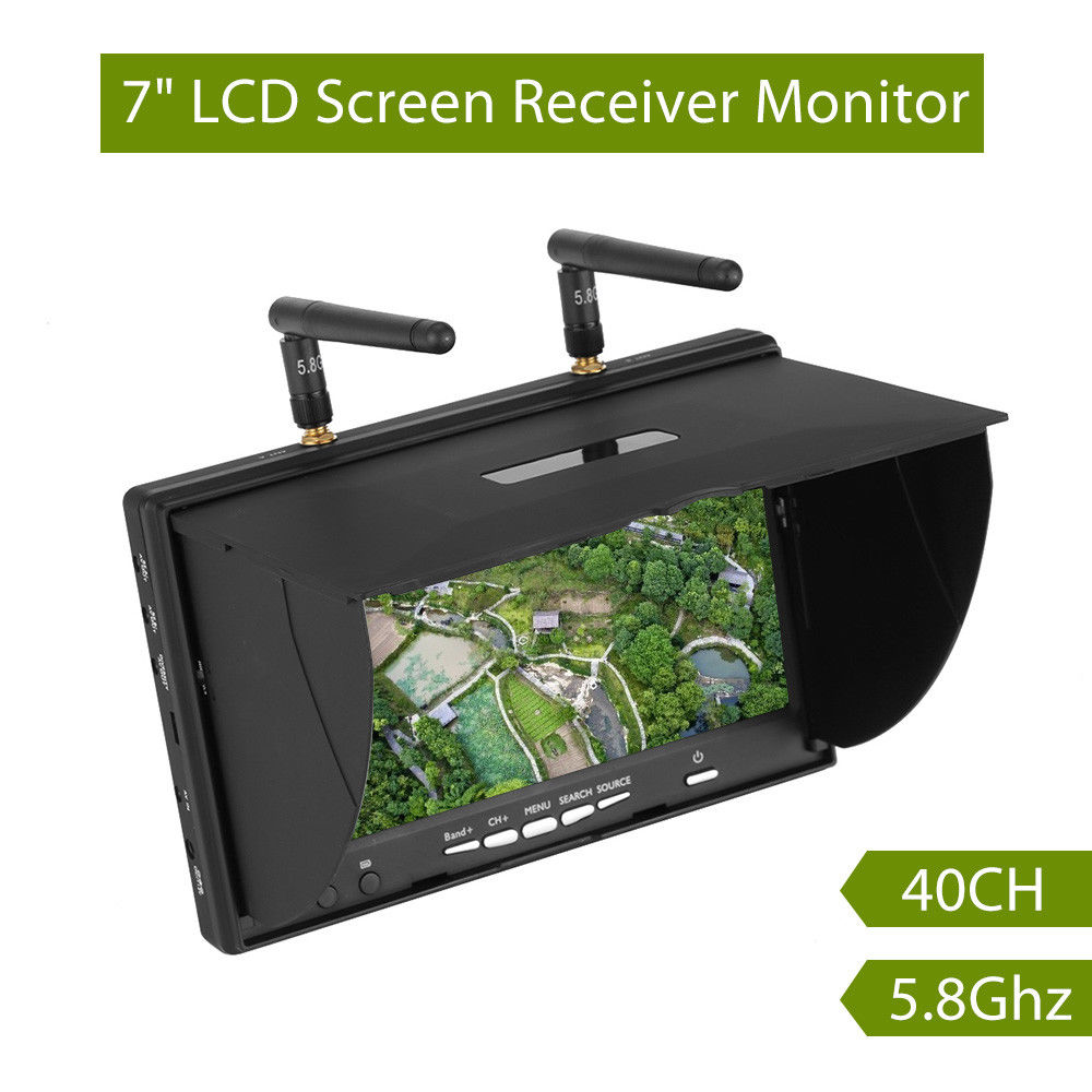 LCD5802S LCD5802D 5802 5 8G 40CH 7 Inch Raceband FPV Monitor 800x480 With DVR Build in