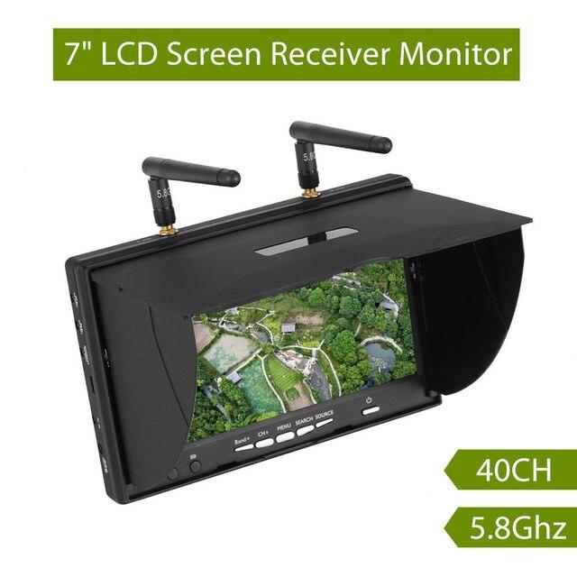 Pantalla de vídeo para multicóptero FPV LCD5802S LCD5802D 5802 5,8G 40CH 7 pulgadas, 800x480 con DVR, batería integrada