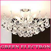 Modern LED Crystal Chandelier Light Fixture Chrome Finish Luster Crystal Lamp For Living Room Bedroom 100