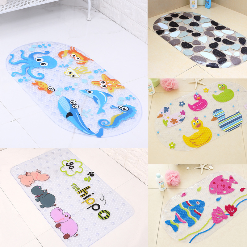 Baby Bath Mat Anti-Slip PVC Cartoon Bathmats Tub Mat with Suction Cup Toddler Fish Bathtub Mat 39cmx69cm
