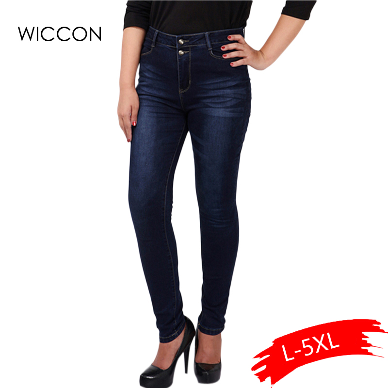 Big plus size women blue & black jeans L-5XL denim pants spring autumn wear full length fashion push up jeans trousers WICCON