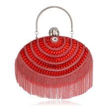 hot deal buy  2018 new women clutch tassel rhinestones evening bags mini tassel beaded chain shoulder purse evening bag for party wedding