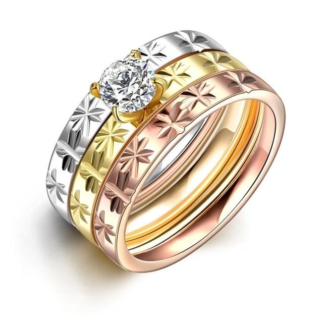 MEGREZEN Stainless Steel Engagement Ring Sets Engraved Flower Gold