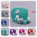 Silicone green Elephant beads Teething Ring baby teether Handmade FDA Food Grade silicone teether toy chewable teether