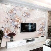 Custom Murals 3D Stereo Living Room Bedroom TV Backdrop Embossed Video Wallcovering Simple Murals Seamless Papel