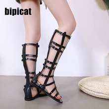gladiator sandals women flat shoes Snake Print 2019 new casual ladies plattorm slides runway sexy combat boots for summer