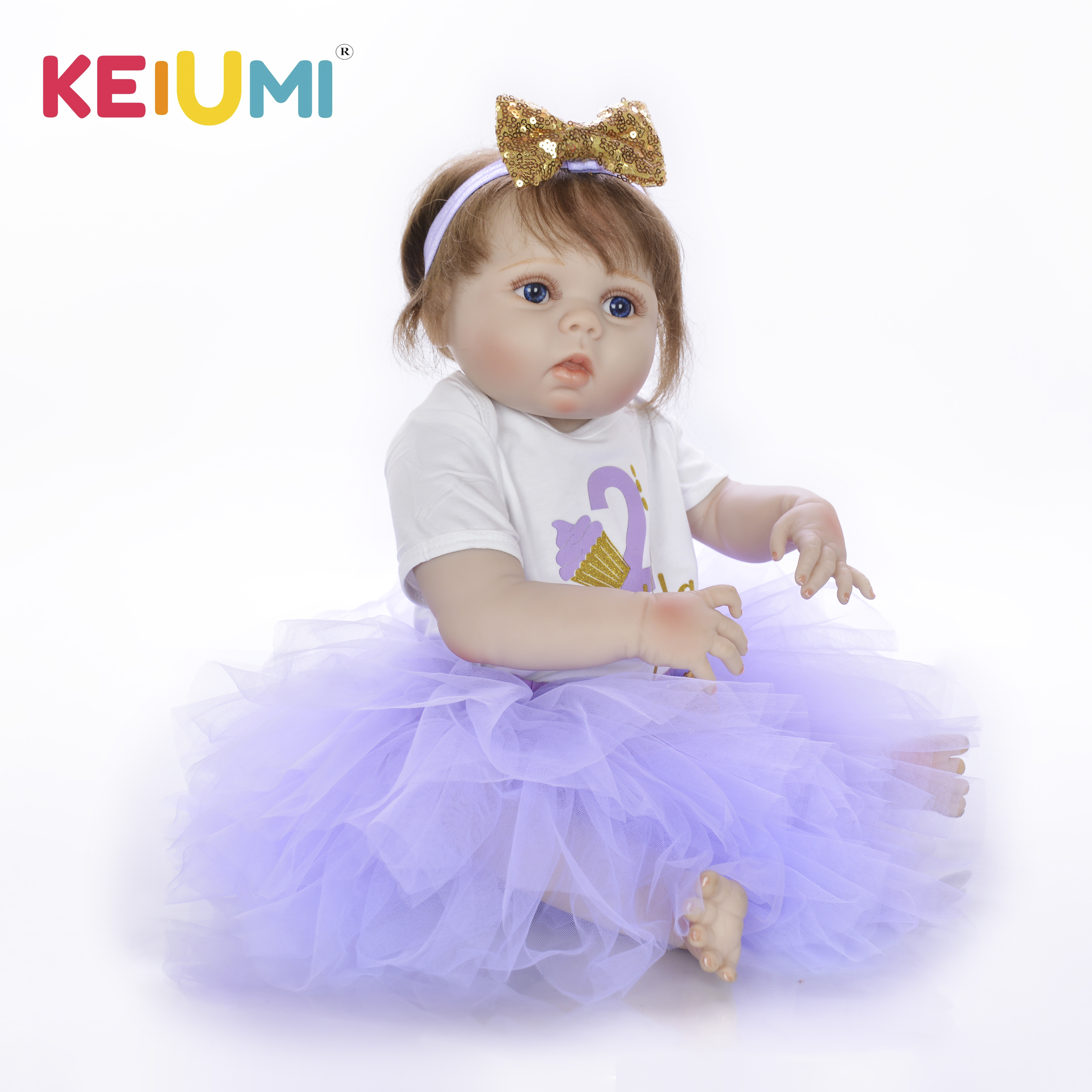 KEIUMI New Style 23 Inch 57 cm Full Body Silicone Vinyl Reborn Baby Dolls Girl Realistic Reborn Dolls For Kids Birthday GiftKEIUMI New Style 23 Inch 57 cm Full Body Silicone Vinyl Reborn Baby Dolls Girl Realistic Reborn Dolls For Kids Birthday Gift