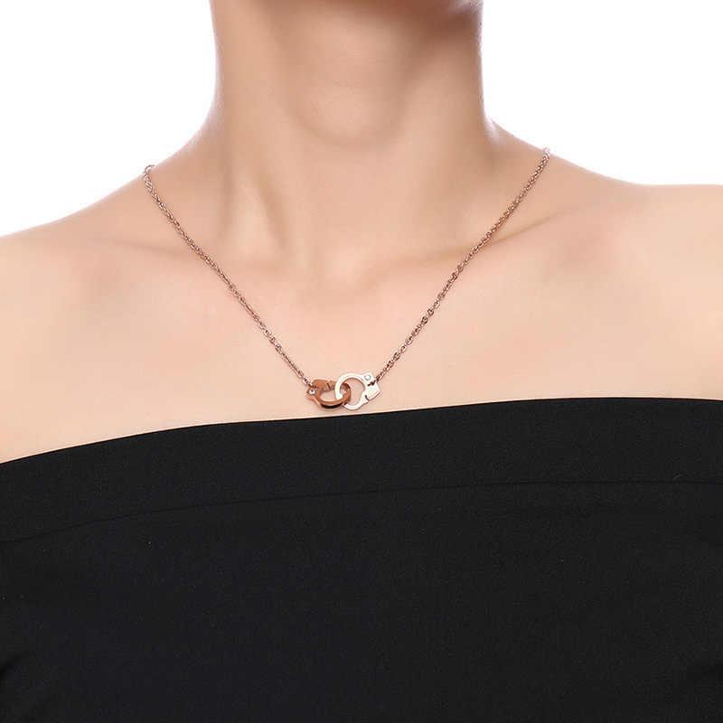 Vnox 女性のクリスタル石手錠チョーカーネックレスローズゴールドカラーのステンレス鋼のペンダント女性ガールジュエリー