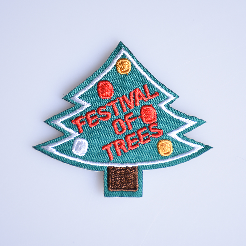 Christmas Tree Patch: 1PC Christmas Tree Patches Iron On Embroidered Patch For